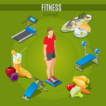 Isometric fitness concept with man standing on scales sport trainers healthy food and beverage isolated