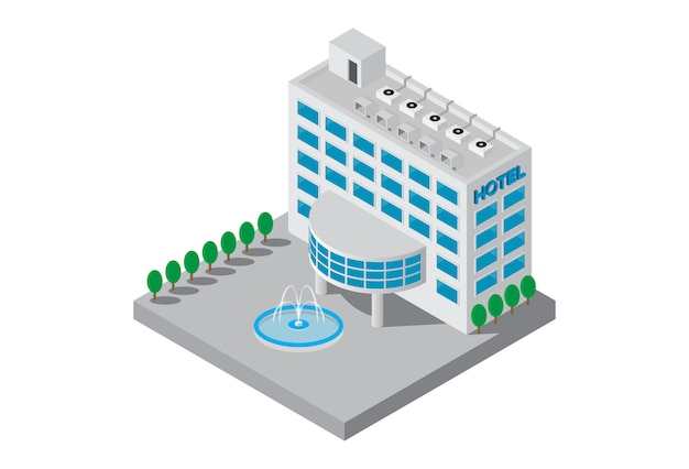 Isometric five star hotel building vector