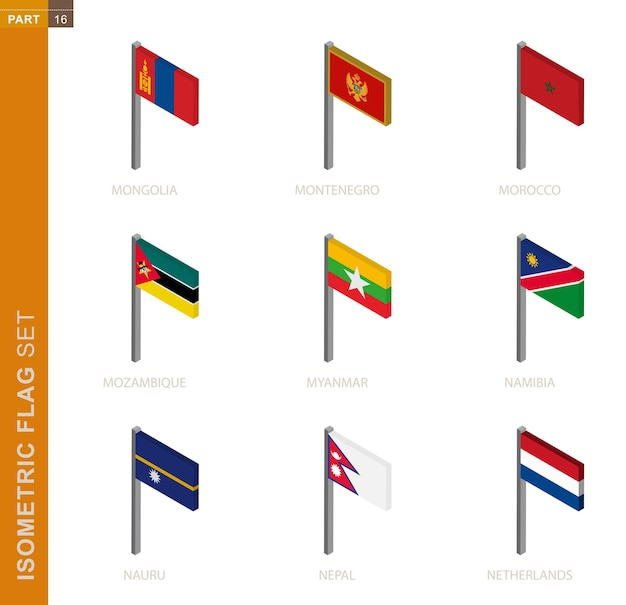 Isometric flag collection isolated on white