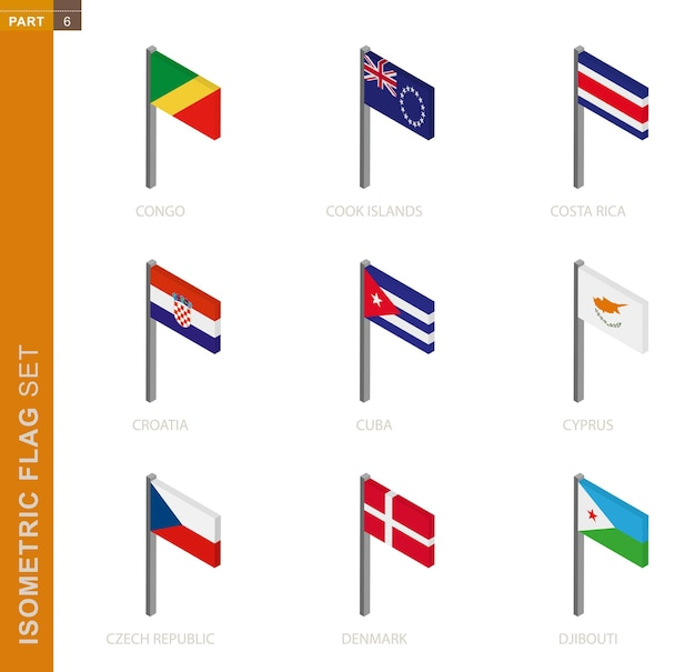 Isometric flag set, flagpole in isometric dimension. collection of nine  flag.