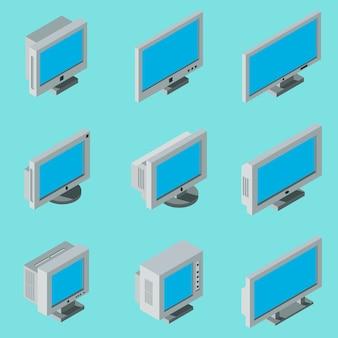 Isometric flat 3d desktop computer monitor icons set