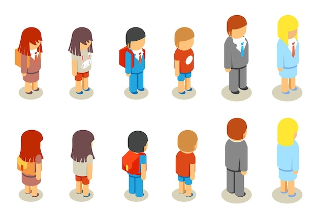 Изометрические плоские 3d школьники и учителя. образовательные люди, человек человек, женщина и мужчина,