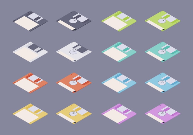 Isometric flat colored floppy disks, diskettes set