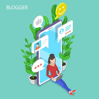 Isometric flat concept of blogger, commercial blog posting, copywriting
