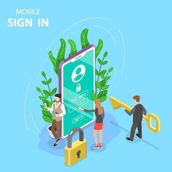 Isometric flat concept mobile sign up, login to account.