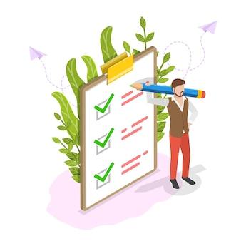 Изометрические плоские концепции контрольного списка в буфере обмена, успешное завершение задачи, завершенный опрос.