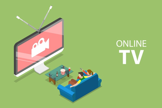 Изометрическая плоская концепция смарт-тв, домашних развлечений, онлайн-фильмов, потоковой передачи.