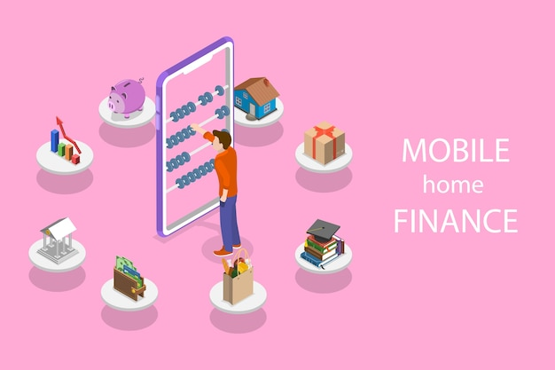 Isometric flat  concept of personal home finance, budget planning, online shopping, banking and bill payment.