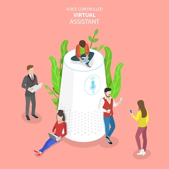 Isometric flat concept of personal voice, assistant, voice recognition