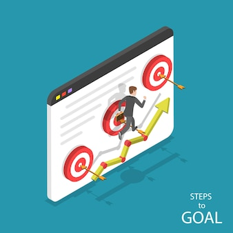 Isometric flat concept of steps to goal, business ambitions, motivation, path to success.