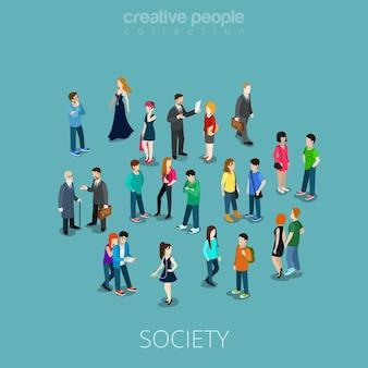 사람들의 등각 투영 평면 군중입니다. 다양한 청소년과 성인이 서서 말하고 전화를 걸고 음악을 듣습니다. 사회 구성원 3d 등거리 변환 개념.