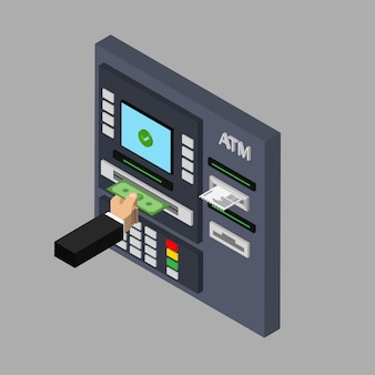 Isometric flat design of atm machine isolated on grey background. withdrawing money