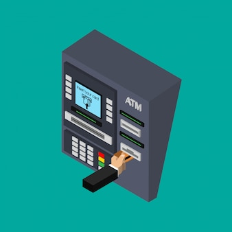Isometric flat design of atm machine with hand. inserting credit card to atm. using automat terminal.  illustration.
