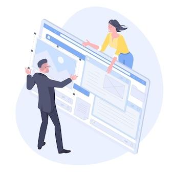 ウェブ開発、プログラマーエンジニアリング、ウェブサイトアプリケーションのコーディングのアイソメトリックフラットデザインコンセプト。若い男性と女性の開発者は、アプリケーション設計をプログラミングするエンジニアをプロジェクトします。