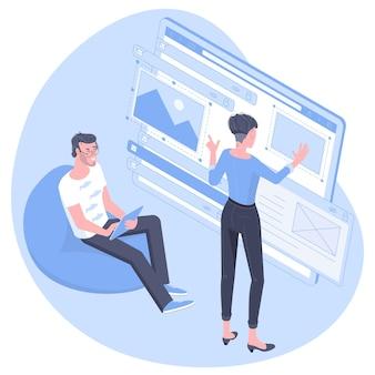웹 개발, 프로그래머 엔지니어링 및 코딩 웹 사이트 응용 프로그램의 등각 투영 평면 설계 개념. 젊은 남자와 여자 개발자는 응용 프로그램 디자인을 프로그래밍하는 엔지니어를 프로젝트합니다.