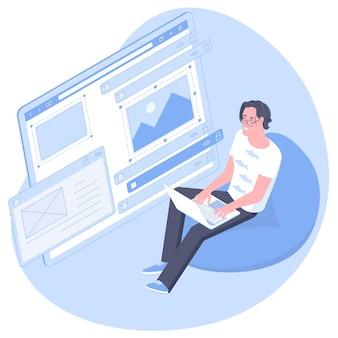 웹 개발, 프로그래머 엔지니어링 및 코딩 웹 사이트 응용 프로그램의 등각 투영 평면 설계 개념. 젊은 남자 개발자 프로젝트 엔지니어 프로그래밍 응용 프로그램 디자인.