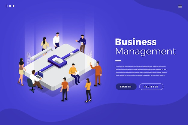 Изометрические плоский дизайн концепции совместной работы рабочие инструменты и элементы управления бизнесом