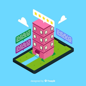Isometric flat design hotel booking concept