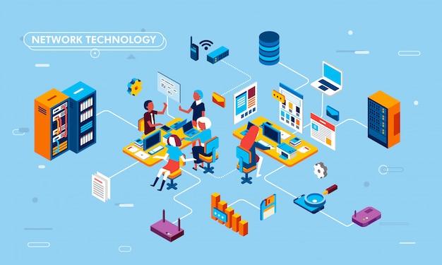 Изометрические плоский дизайн иллюстрация сетевых технологий на бизнес-процесс