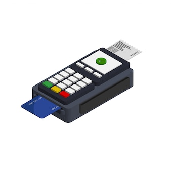 Isometric flat design of pos terminal isolated on transparent