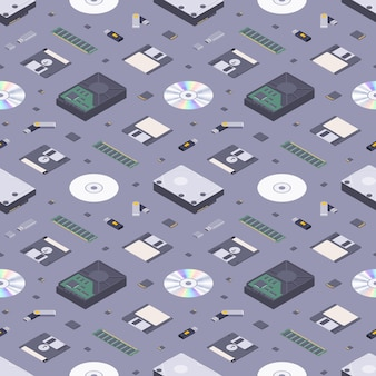 Isometric flat digital memory storages seamless pattern