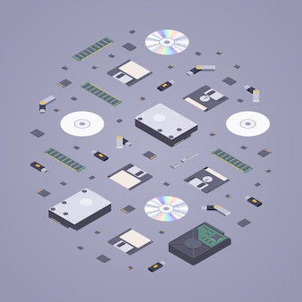 Isometric flat digital memory storages