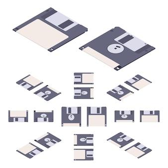 Isometric flat floppy disk, diskette