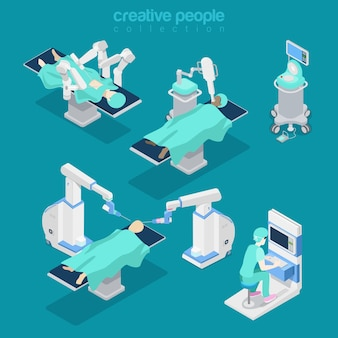 Isometric flat hospital modern equipment, robot-assisted brain surgery illustration