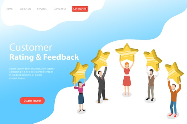 Isometric flat landing page template of product rating, customer feedback, positive opinion and review, online survey, five stars.