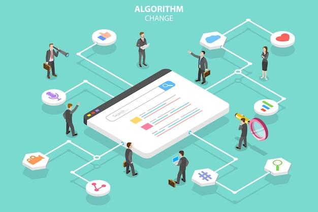 Isometric flat vector concept of algorithm change
