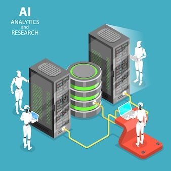 Isometric flat vector concept of artificial intelligence analytics and research