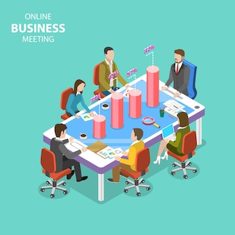 Isometric flat vector concept of business meeting, online conference, webinar, group training.