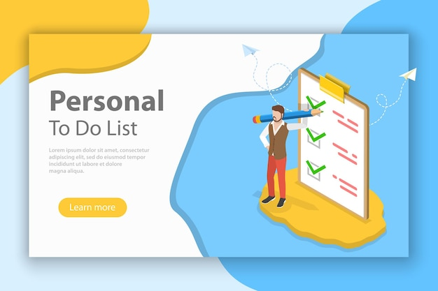 Isometric flat vector concept of checklist on clipboard