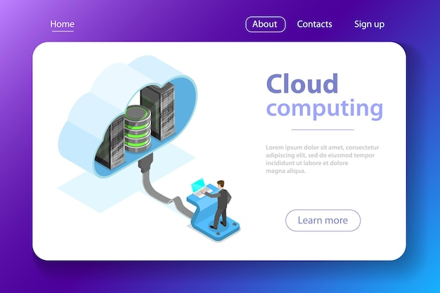 Isometric flat vector concept of cloud computing technology