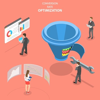 Isometric flat vector concept of conversion rate optimization
