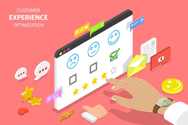 Isometric flat vector concept of customer experience optimization