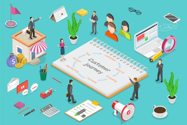 Isometric flat vector concept of customer journey map