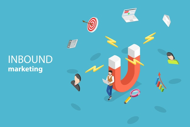 Isometric flat vector concept of digital inbound marketing strategy