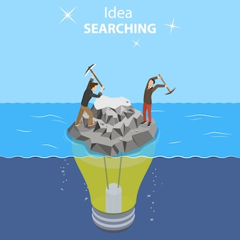 Isometric flat vector concept of idea search