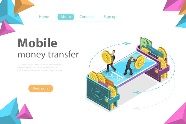 Isometric flat vector concept of mobile wallet
