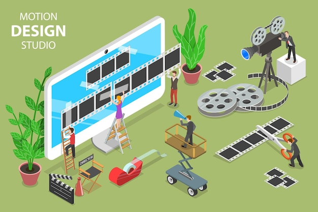 Isometric flat vector concept of motion design studio, video editor app, creating video online.