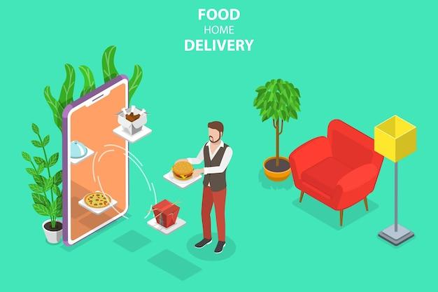 음식 집 배달, 온라인 주문, 레스토랑 예약의 아이소메트릭 플랫 벡터 개념.