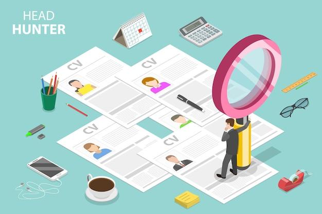 ヘッドハンティング、採用、人事マネージャーのレビュー、従業員検索の等尺性フラットベクトルの概念。