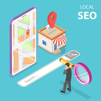 Изометрические плоские векторные концепции местного seo, поискового магазина, электронной коммерции.