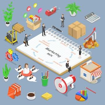 마케팅 믹스 모델, 비즈니스 개념 전략의 아이소메트릭 평면 벡터 개념.