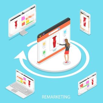 Изометрические плоские векторные концепции маркетингового ретаргетинга
