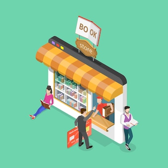 Isometric flat vector concept of online bookstore electronic library