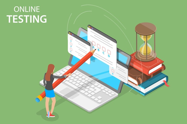 Isometric flat vector concept of online testing questionnaire form