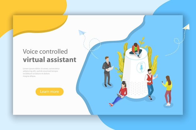 Isometric flat vector concept of personal voice assistant