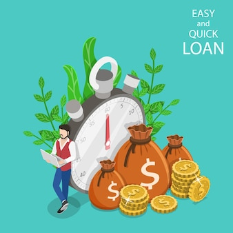 Isometric flat vector concept of quick loan, easy cash, finance services, time is money.